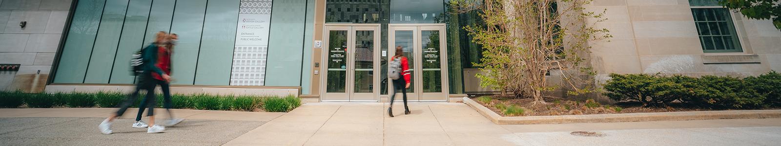 Students enter the Nancy Nicholas Hall School of Human Ecology building